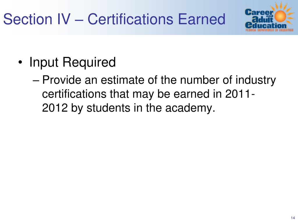 Section IV – Certifications Earned
