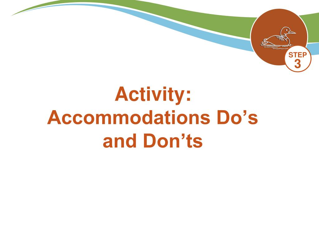 Activity: Accommodations Do's and Don'ts