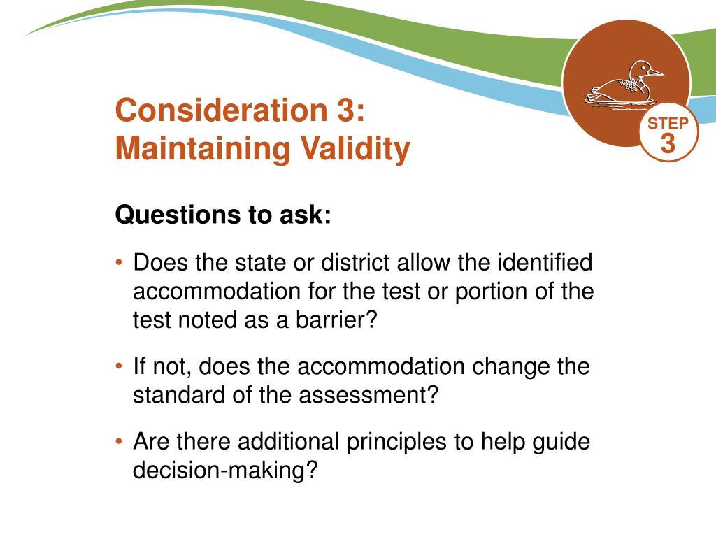 Consideration 3: