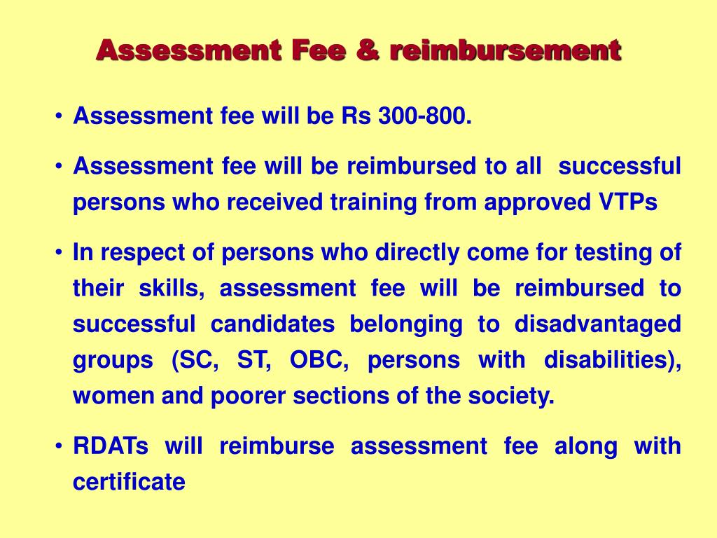 Assessment Fee & reimbursement
