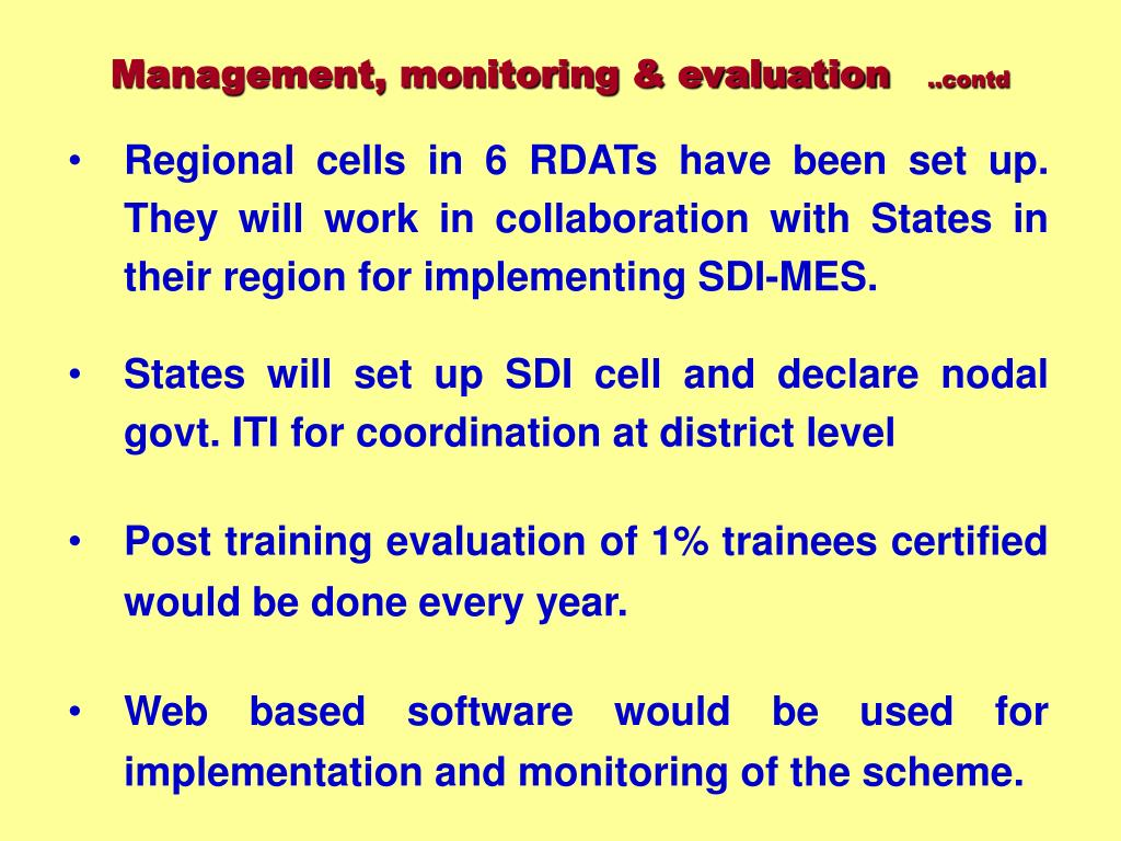 Management, monitoring & evaluation