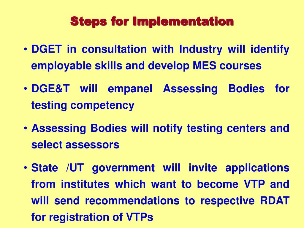 DGET in consultation with Industry will identify employable skills and develop MES courses