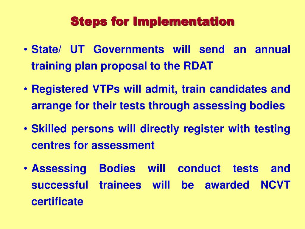 State/ UT Governments will send an annual training plan proposal to the RDAT