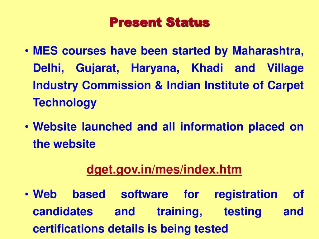 MES courses have been started by Maharashtra, Delhi, Gujarat, Haryana, Khadi and Village Industry Commission & Indian Institute of Carpet Technology