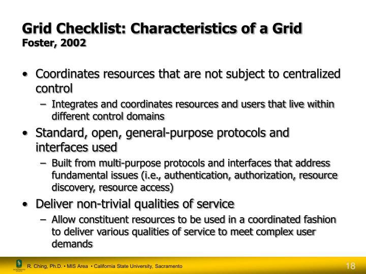 Grid Checklist: Characteristics of a Grid