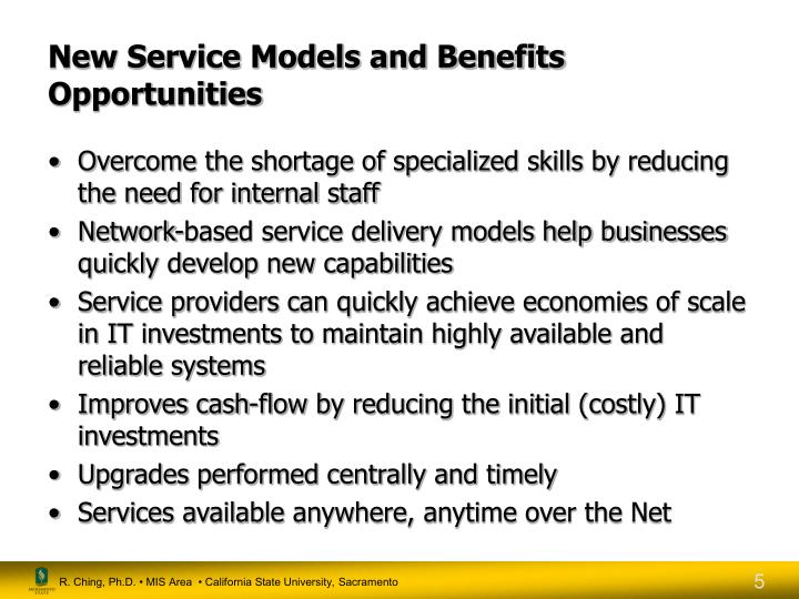 New Service Models and Benefits