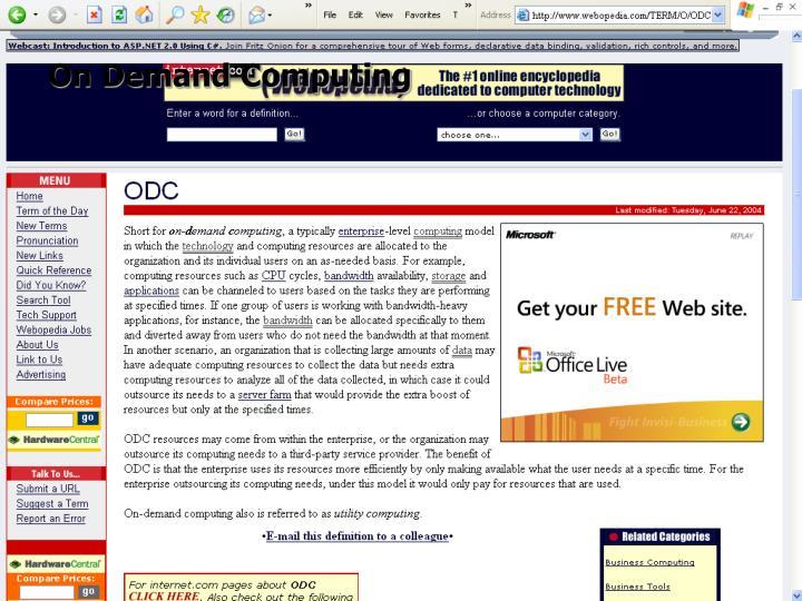 On Demand Computing