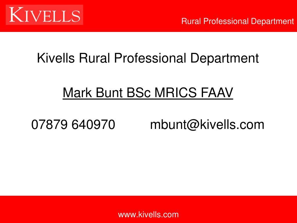 Kivells Rural Professional Department