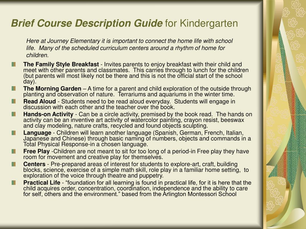 Brief Course Description Guide