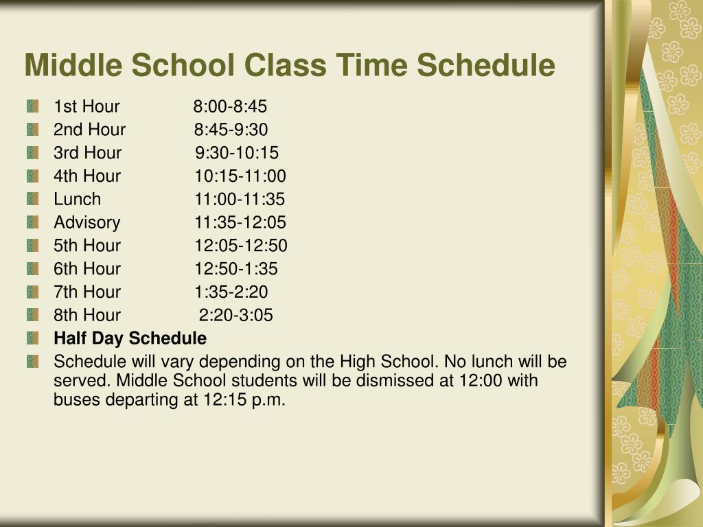 Middle School Class Time Schedule