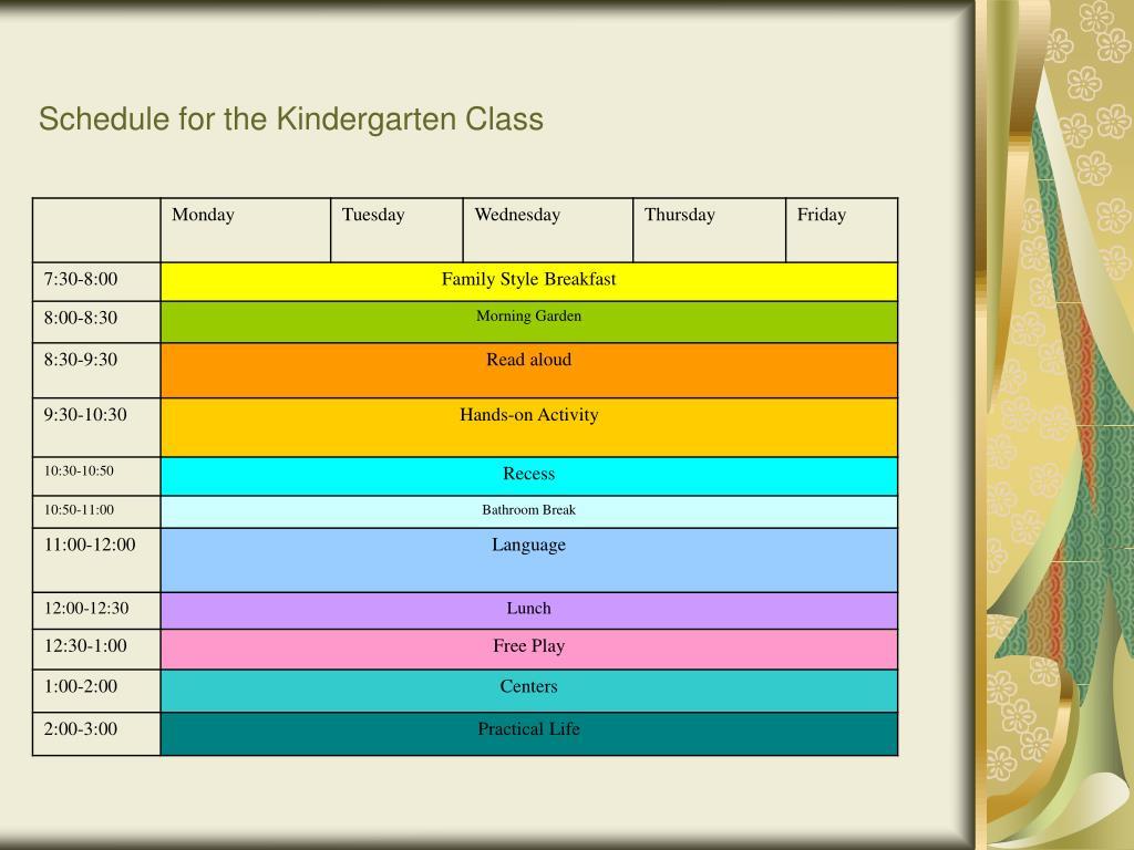 Schedule for the Kindergarten Class