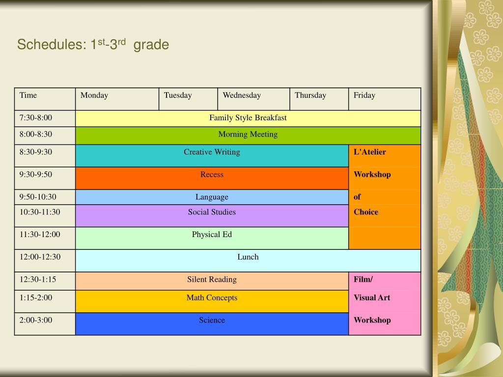 Schedules: 1