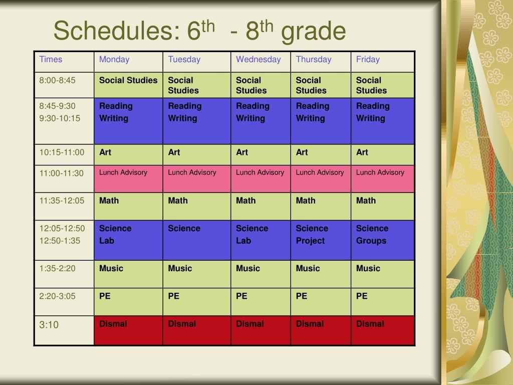 Schedules: 6