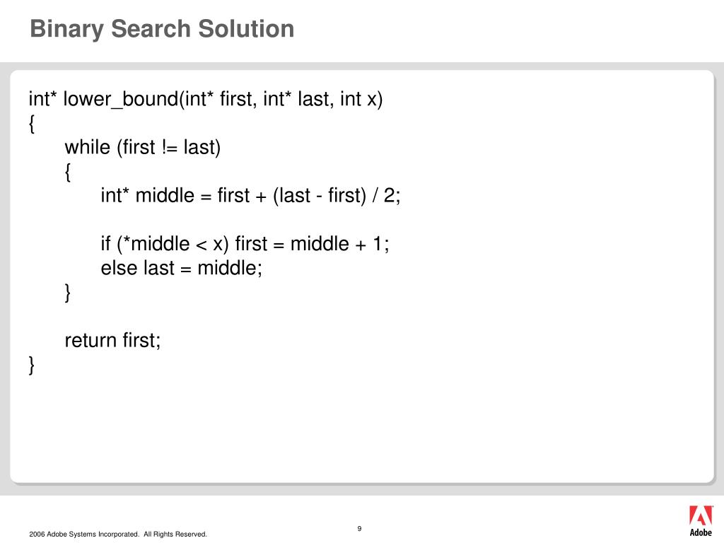 Binary Search Solution