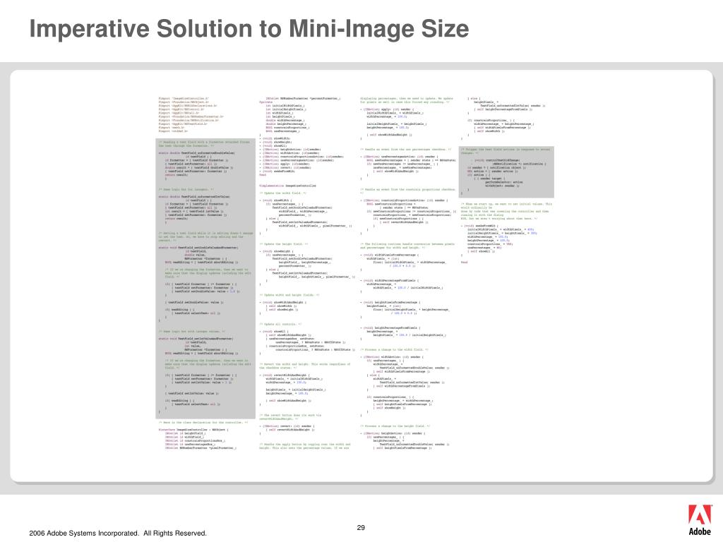 Imperative Solution to Mini-Image Size