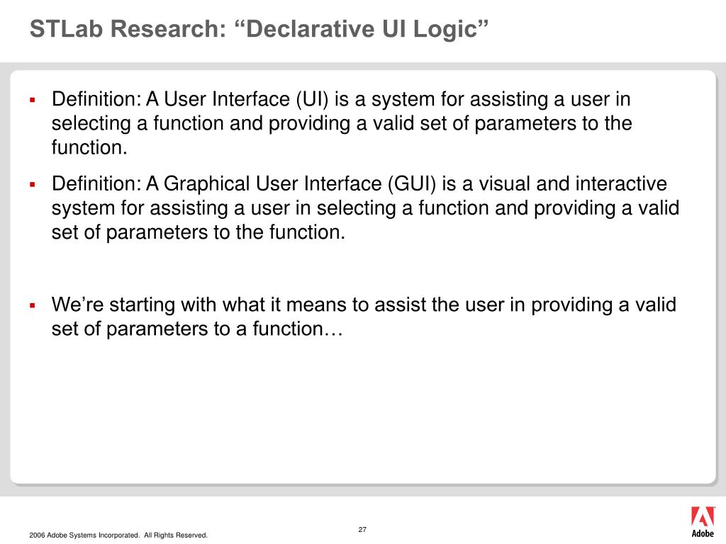 """STLab Research: """"Declarative UI Logic"""""""