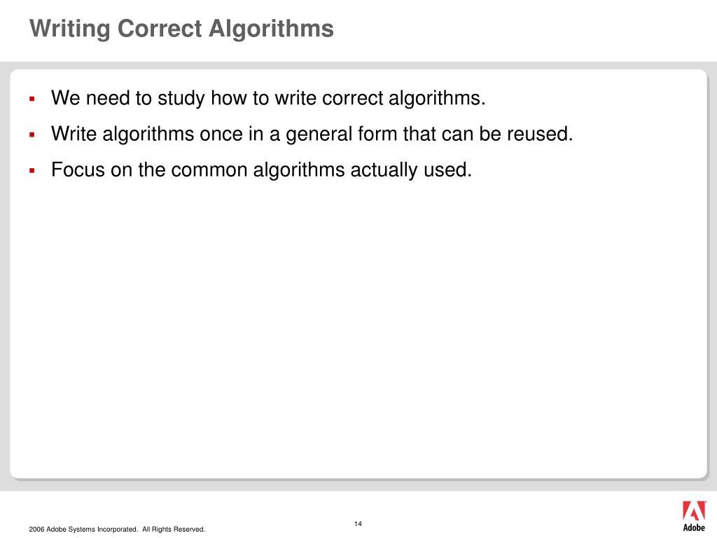 Writing Correct Algorithms