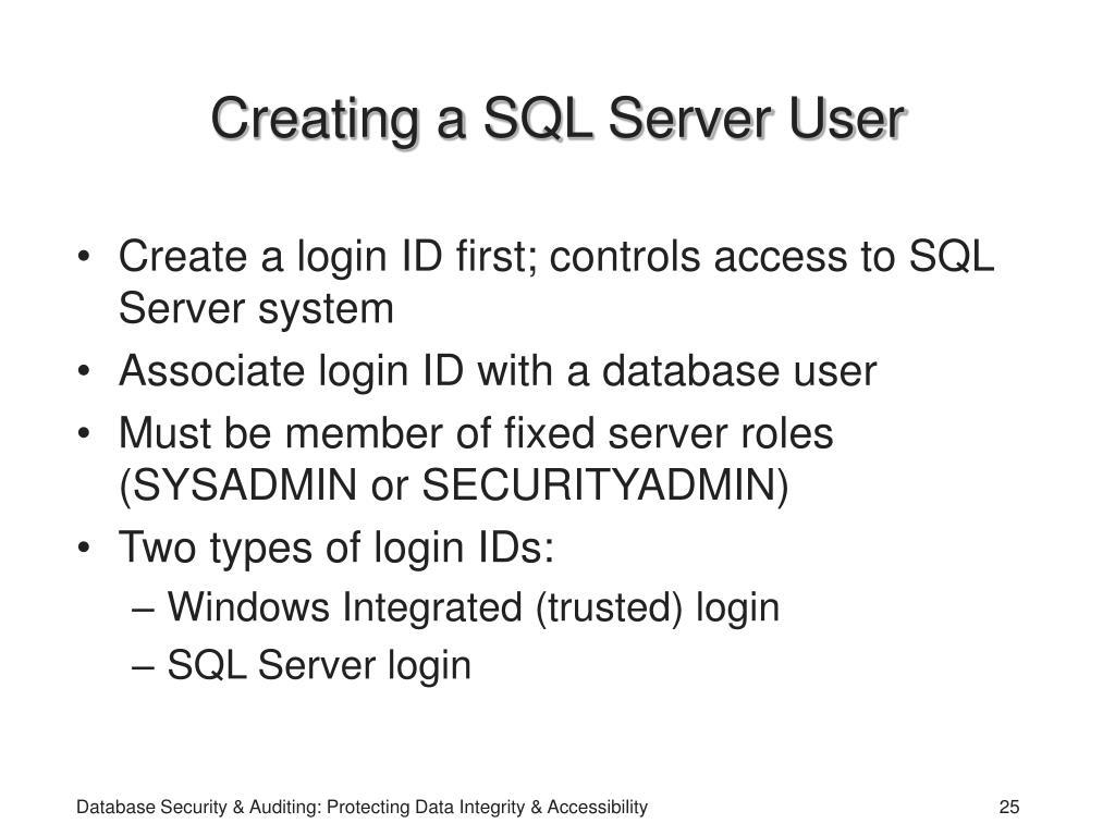 Creating a SQL Server User
