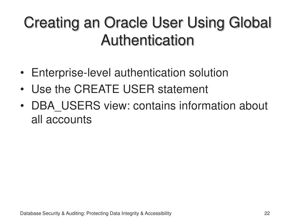 Creating an Oracle User Using Global Authentication