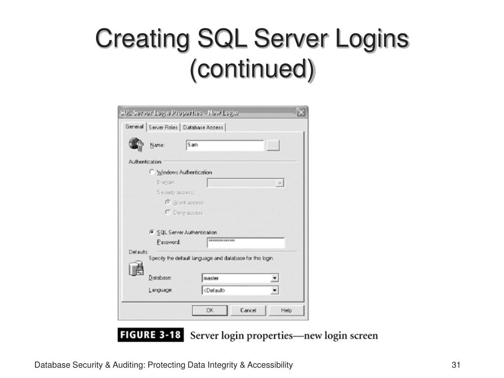 Creating SQL Server Logins (continued)
