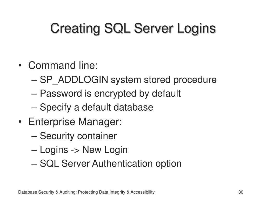 Creating SQL Server Logins