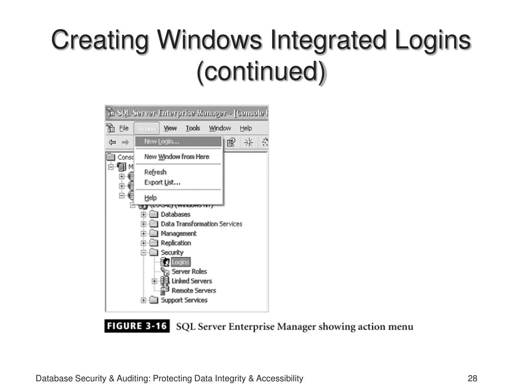 Creating Windows Integrated Logins (continued)