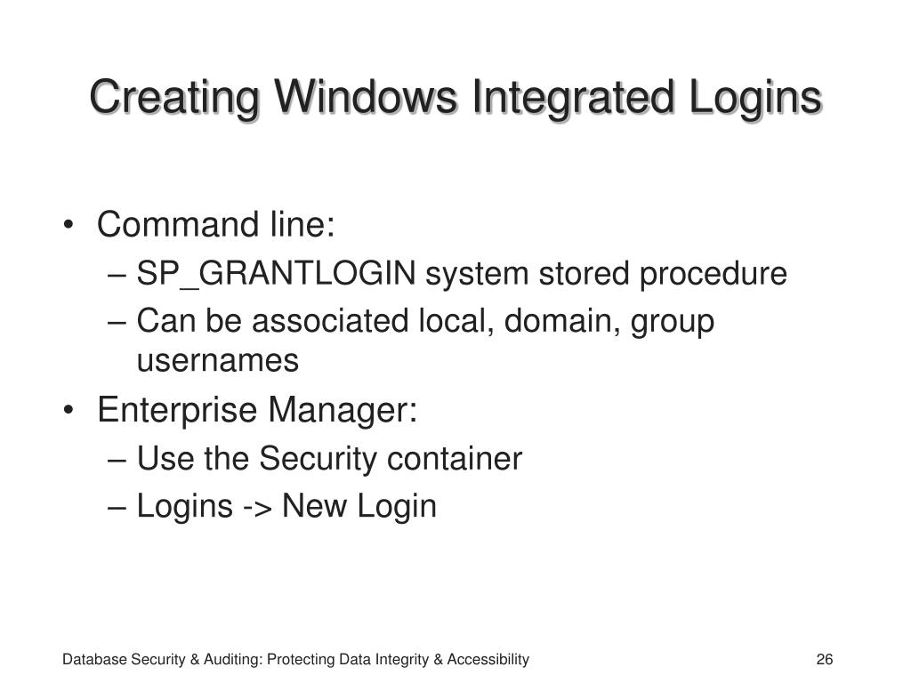 Creating Windows Integrated Logins