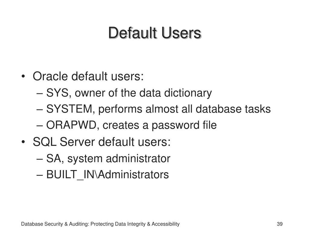 Default Users