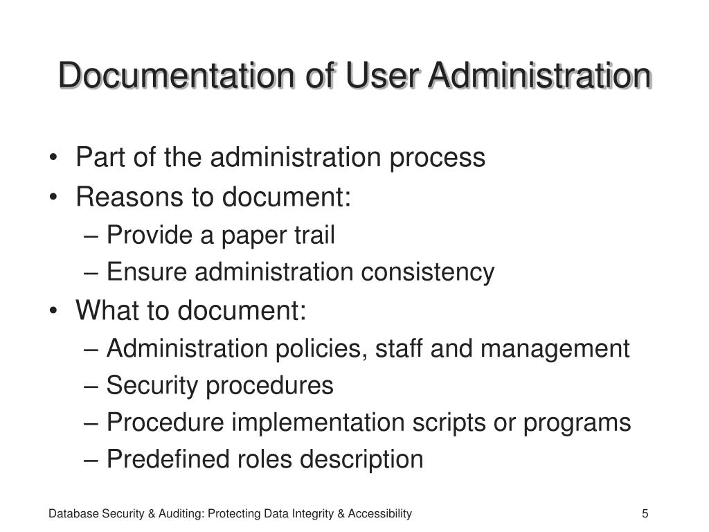 Documentation of User Administration