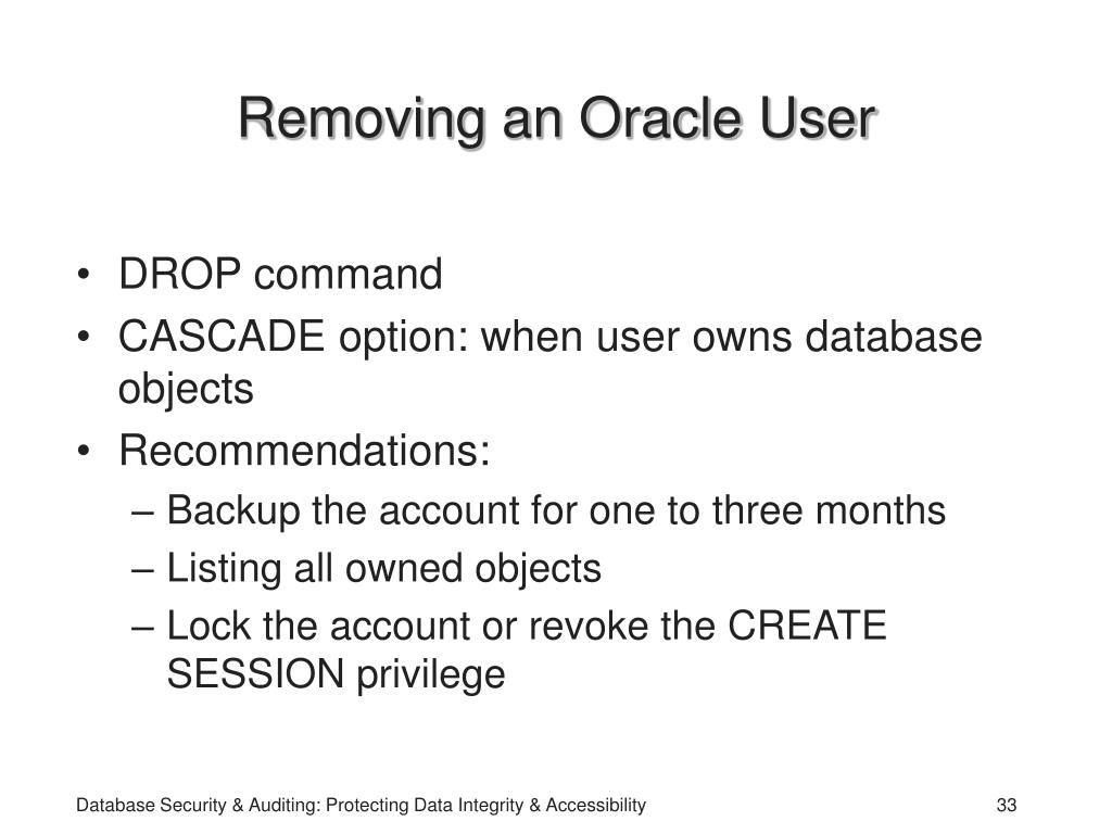 Removing an Oracle User