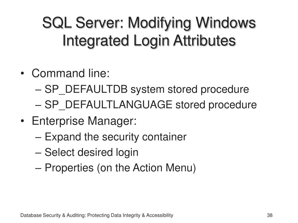 SQL Server: Modifying Windows Integrated Login Attributes