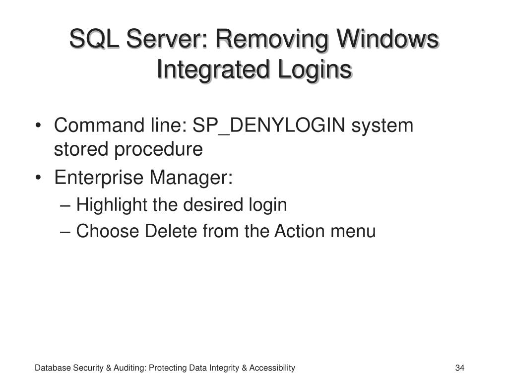 SQL Server: Removing Windows Integrated Logins