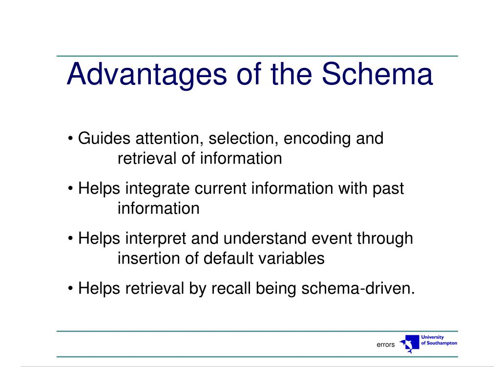 Advantages of the Schema
