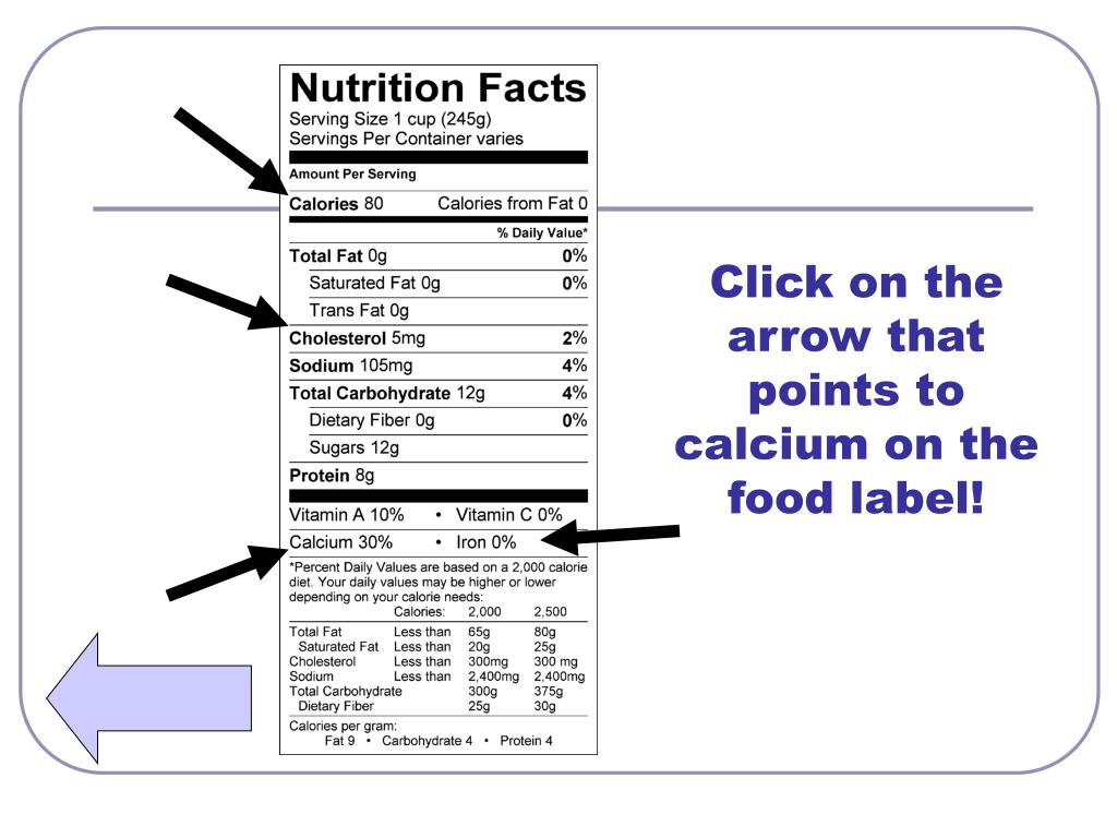 Click on the arrow that points to calcium on the food label!