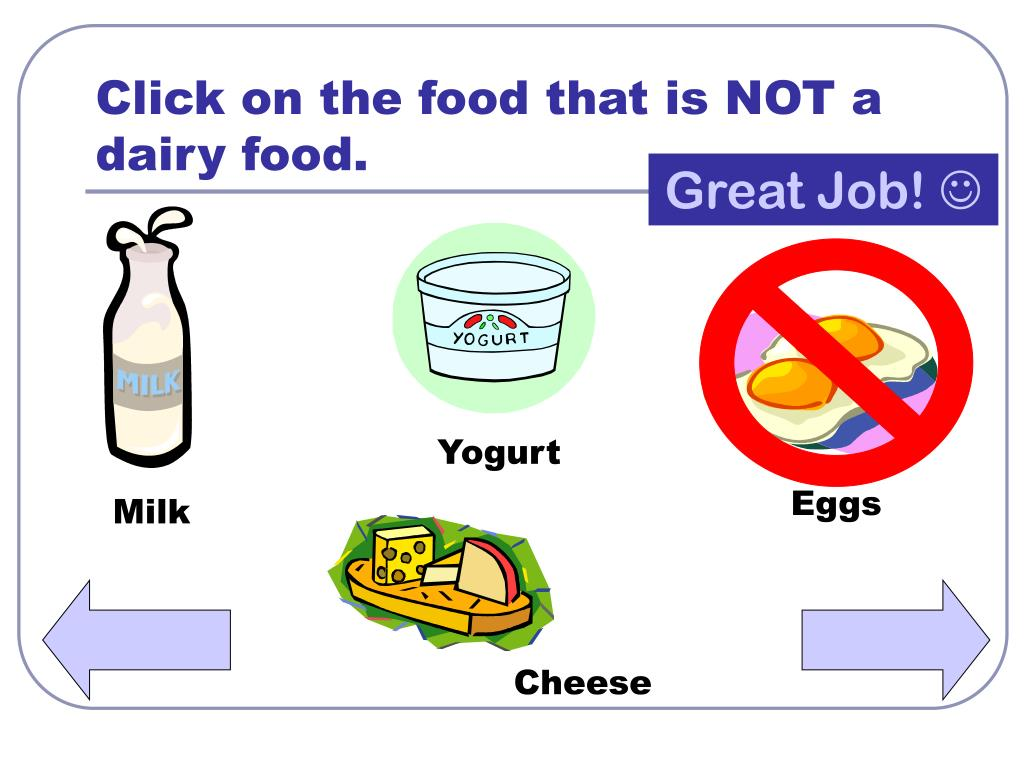 Click on the food that is NOT a dairy food.