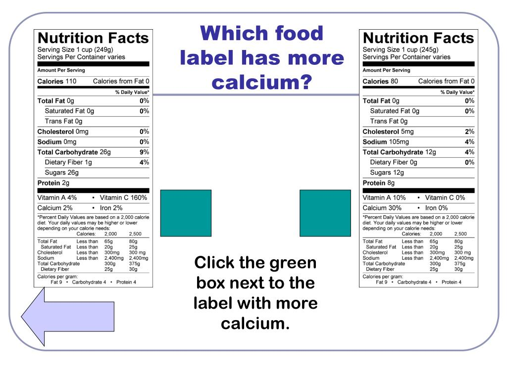 Which food label has more calcium?