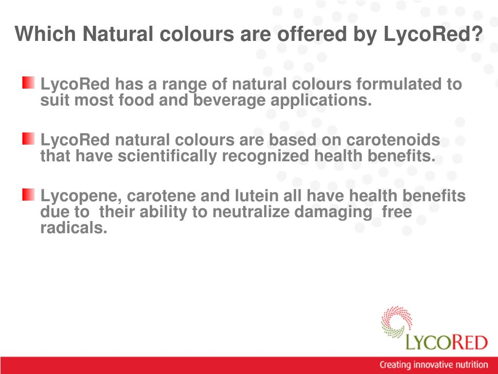 Which Natural colours are offered by LycoRed?