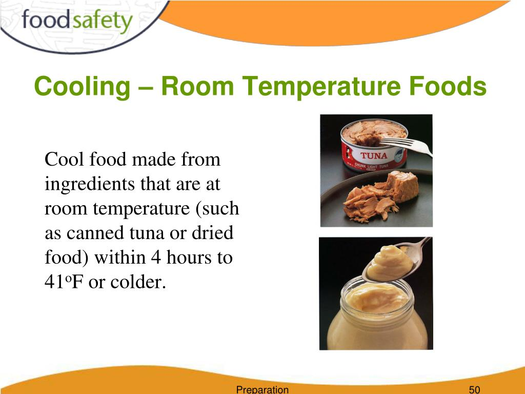Cooling – Room Temperature Foods