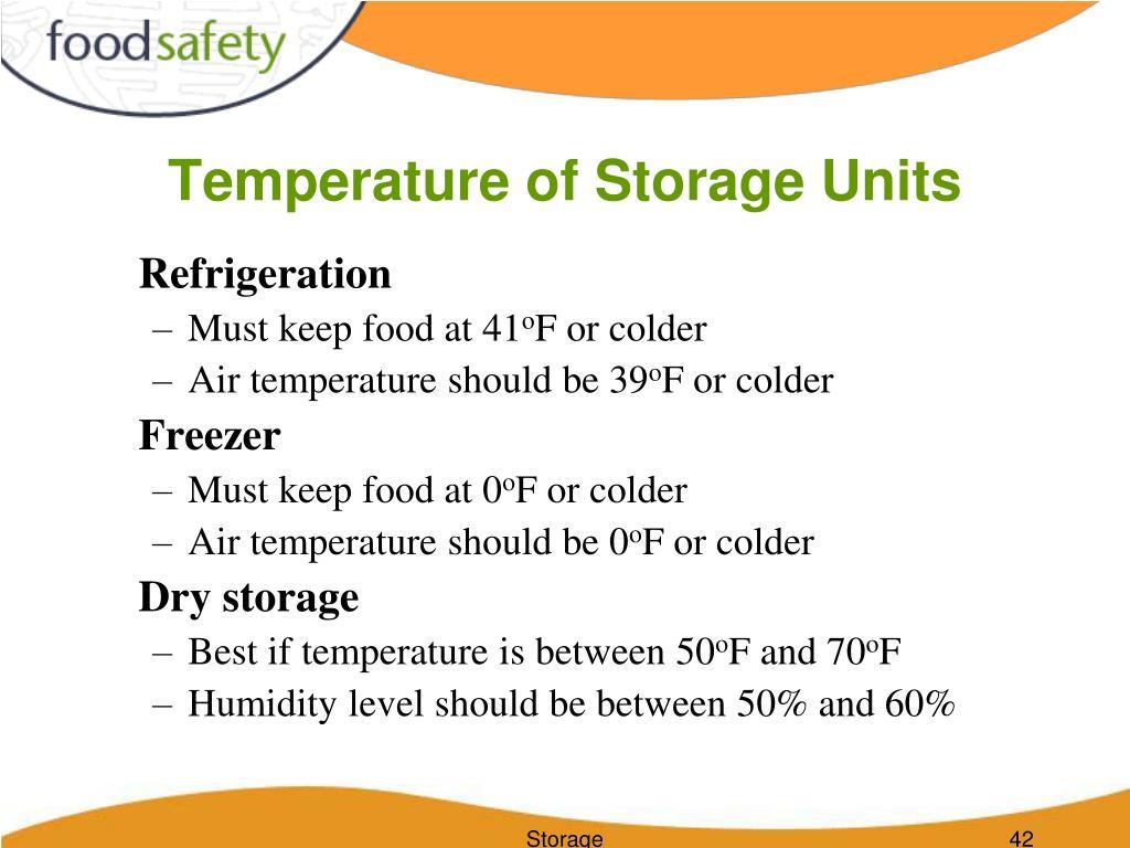 Temperature of Storage Units