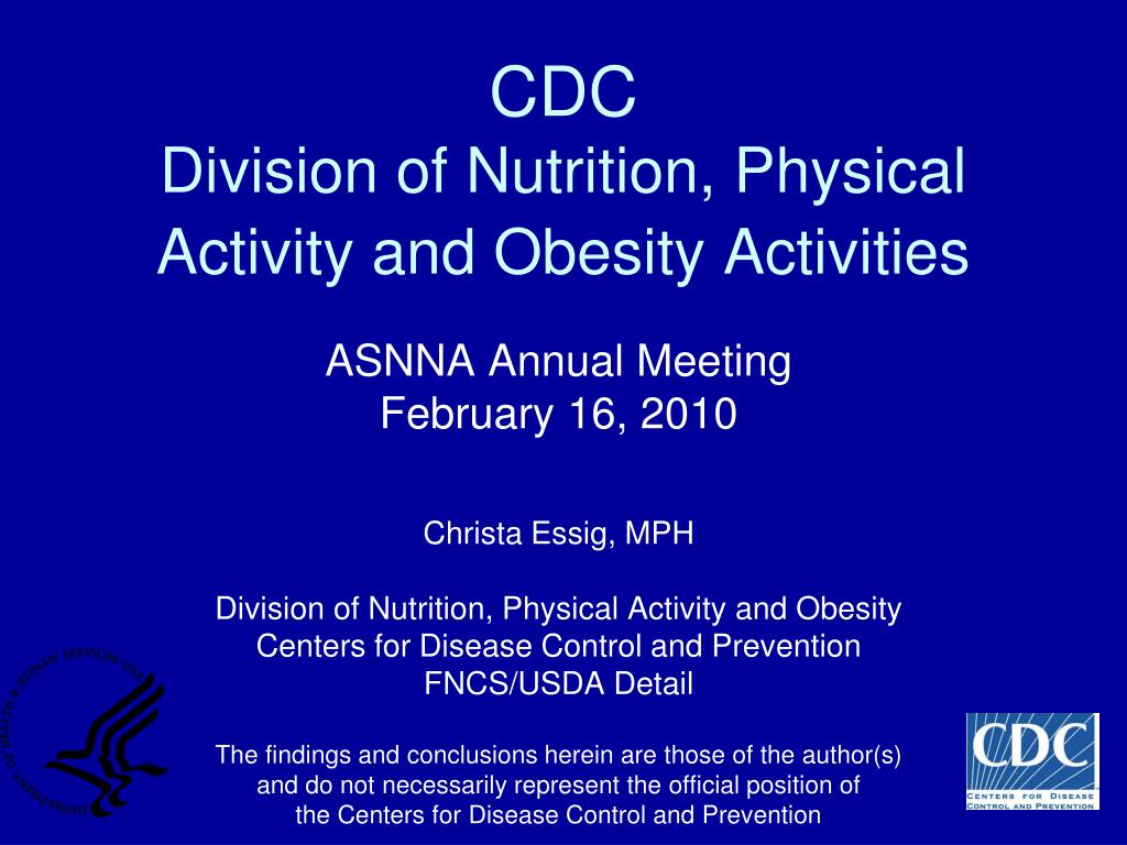 cdc division of nutrition physical activity and obesity activities