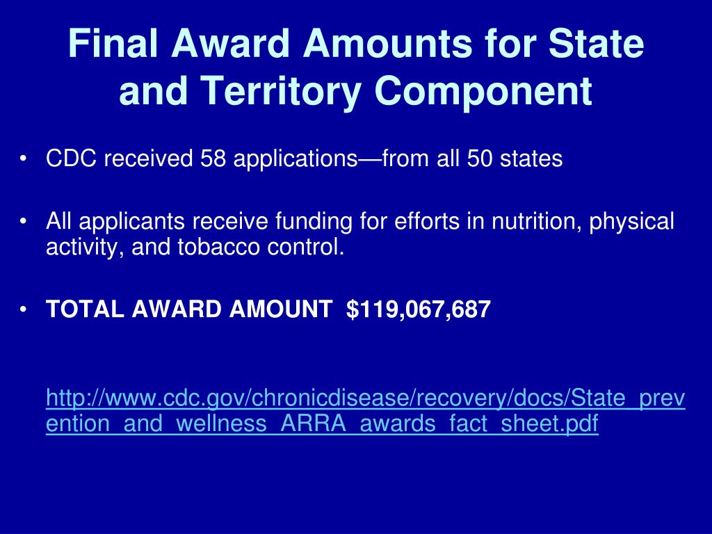 Final Award Amounts for State and Territory Component