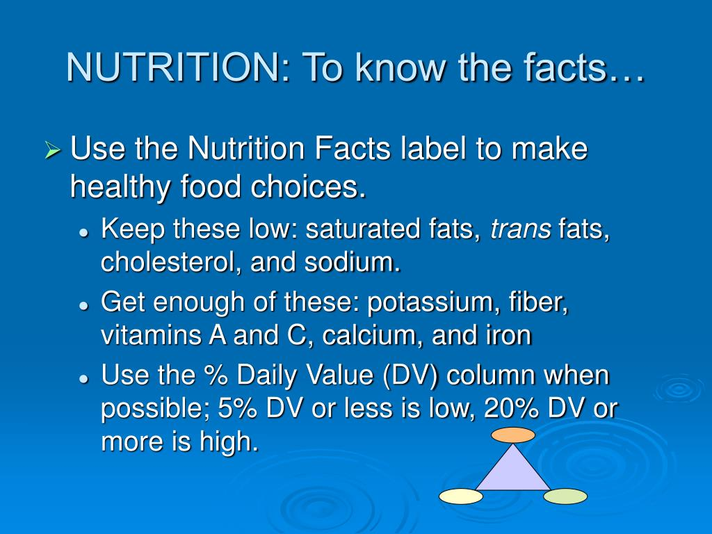 NUTRITION: To know the facts…