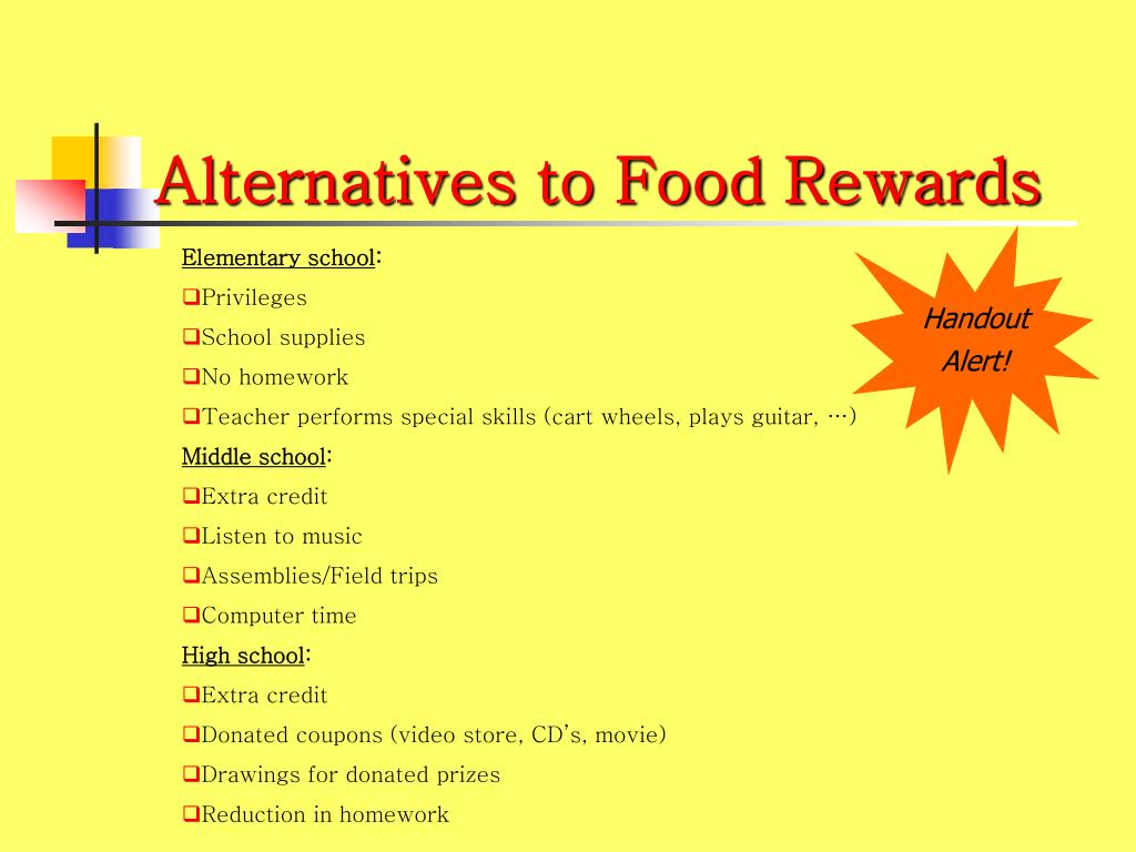 Alternatives to Food Rewards