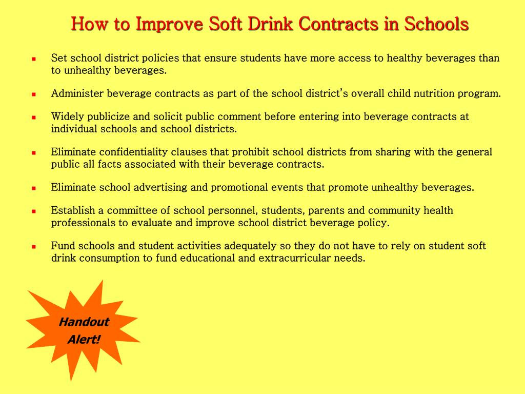 How to Improve Soft Drink Contracts in Schools