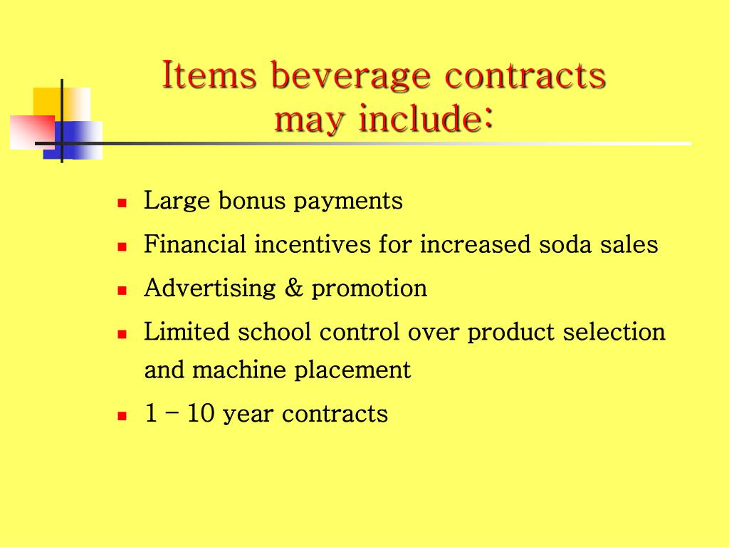 Items beverage contracts