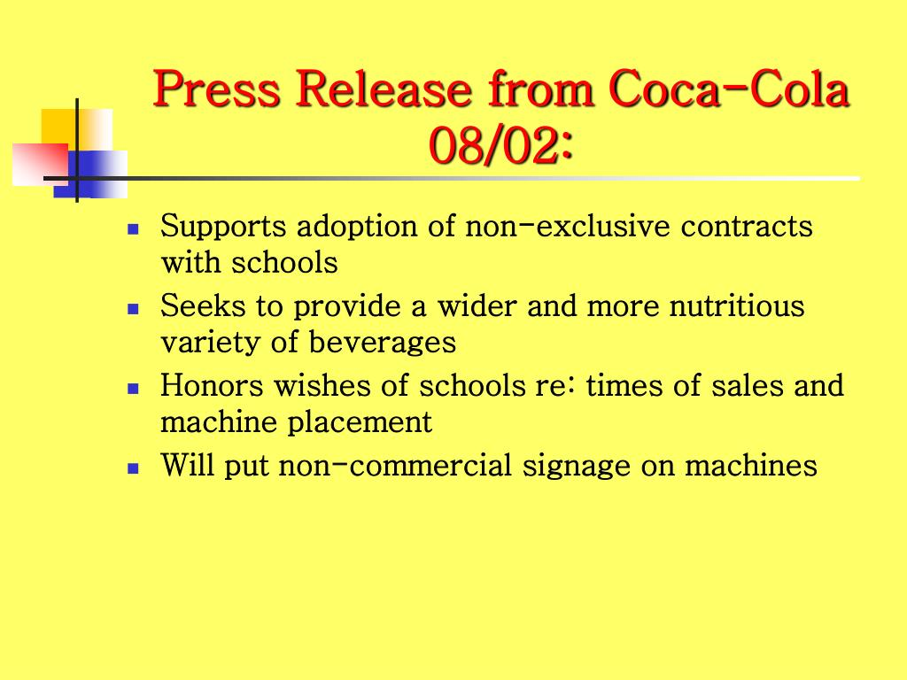 Press Release from Coca-Cola 08/02: