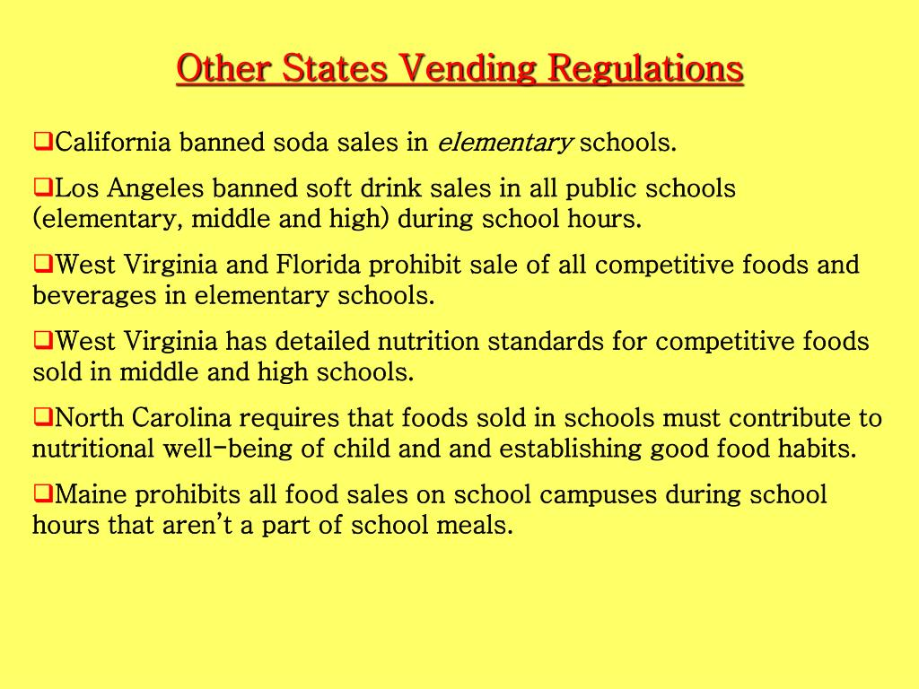 Other States Vending Regulations