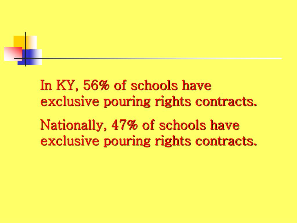 In KY, 56% of schools have exclusive pouring rights contracts.
