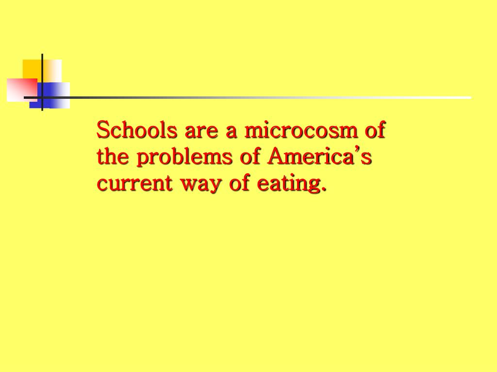 Schools are a microcosm of the problems of America's current way of eating.