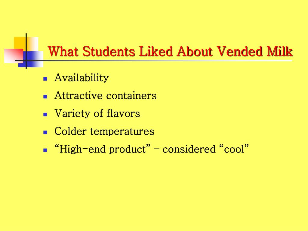 What Students Liked About Vended Milk